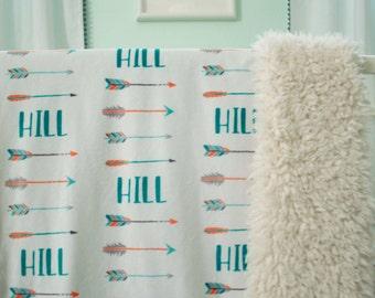 Arrow Baby Blanket, personalized baby blanket, Toddler Blanket, Tribal Nursery, Woodland Nursery