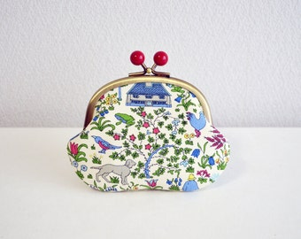 304 Liberty folk Candy coin purse - White&Blue. Handmade in Japan. Ready to ship. Frame purse with red acrylic balls.