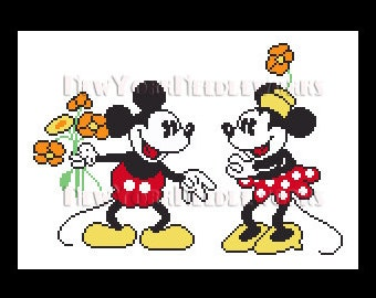 Mickey Mouse Cross Stitch, Mickey and Minnie, Disney Cross Stitch, Needlepoint, Mickey Mouse, Minnie by NewYorkNeedleworks on Etsy