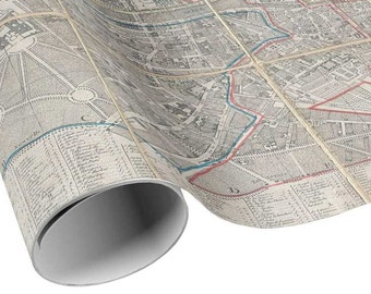 READY TO SHIP - Vintage Paris Map Gift Wrap - City Pocket Map France Wrapping Paper - Gift Paper - Craft Paper