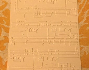 10 Music Sheet Embossed Cardstocks - Choose your color