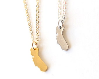 Tiny California State Necklace // Sterling Silver // Gold Filled // Modern everyday layering necklace