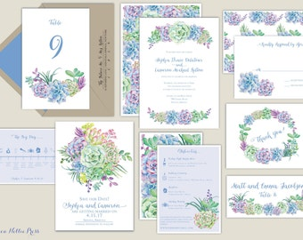 Succulents/Desert/Cactus/Western Watercolor Wedding Invitations