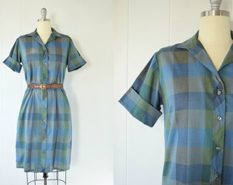 Vintage 1960s Plaid Dutchmaid Shift Dress / Plaid Dress / Shift Dress / Blue and Green / Shirtwaist Dress