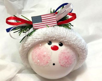USA Christmas Ornaments Patriotic Flag Hand Painted Handmade Personalized Themed by Townsend Custom Gifts (F) - BR