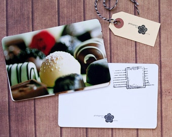 Chocolates Notecard Set, Carte Postale, SnailMail Postcards, Photography Notecards, Postcrossing, Penpal, Chocolate Assortment Cards
