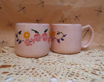 Pink flowered mug