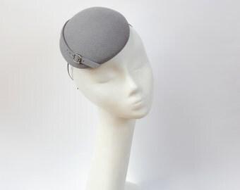 Oval Mini Hat- Grey-Wool Felt