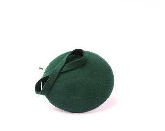 Wool Felt Mini Hat-Button-Felt Fascinator-Bottle Green
