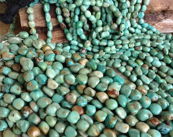 Large Nuggets Green Campo Frio Turquoise - 10 mm - Full Strand - Southwestern Style