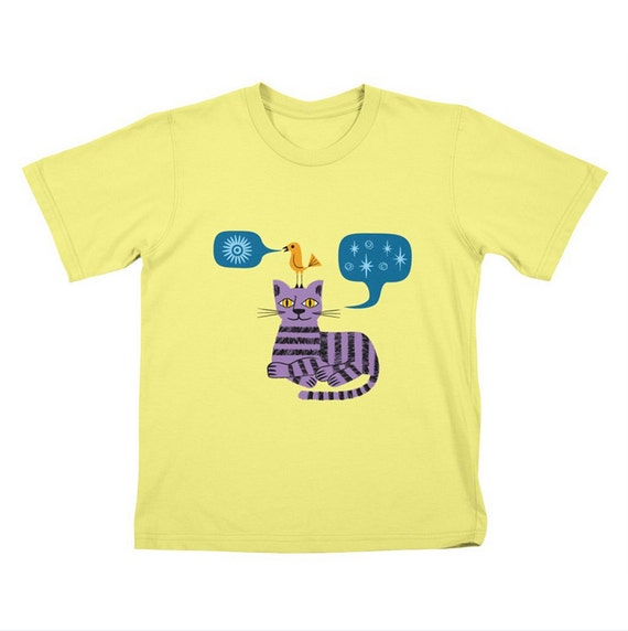 The Conversation - Childrens T-shirt / Tee / Kids / Youth - Cat and Bird - Stone / Lemon Yellow / White by Oliver Lake - iOTA iLLUSTRATION