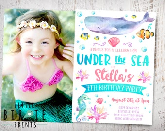 Under the sea invitation Girl Pink Under the sea birthday party invitation Pool Party Invitation Under the sea first birthday invitation Sea