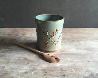 Wine Cooler, Large Ceramic Utensil Jar in Woodland Green