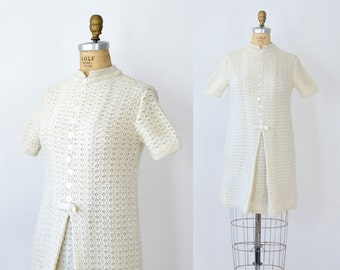 1960s Cream Wool Mini Dress / 60s Mini Dress