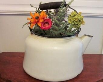 Farmhouse Enamelware Kettle, Teapot, Enamel Planter, Rustic, Mid Century, Vintage