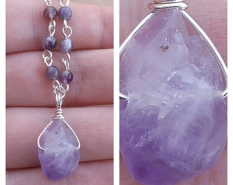 Amethyst Crystal Necklace February Birthstone