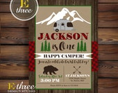 Camping Birthday Party Invitation - Plaid Camper Party Invitation - Rustic Boy's Birthday Invite - One Happy Camper Party