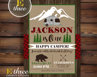Camping Birthday Party Invitation - Plaid Camper Party Invite - Rustic Boy's Birthday Invite - One Happy Camper Party