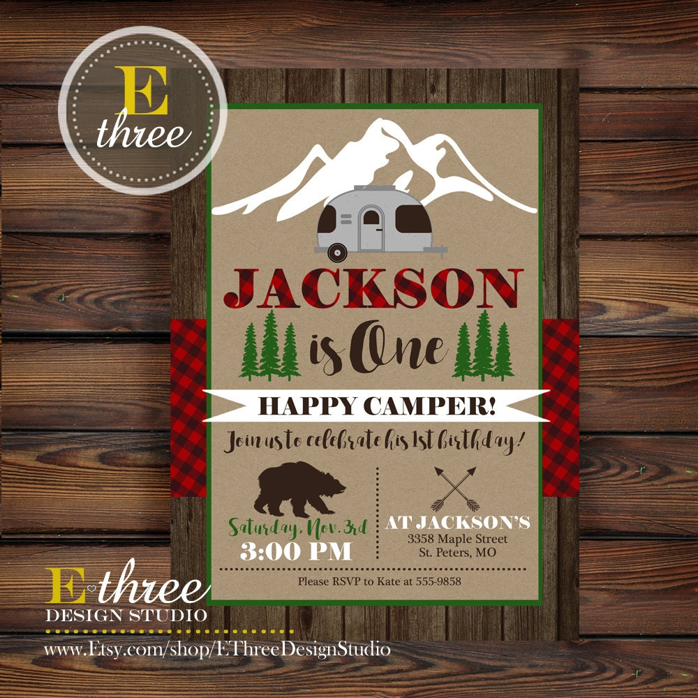 Camping Theme Invitations: Camping Birthday Party Invitation Plaid Camper Party Invite