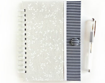 Hardbound fabric journal // spiral notebook jotter diary // natural ivory & white leaves