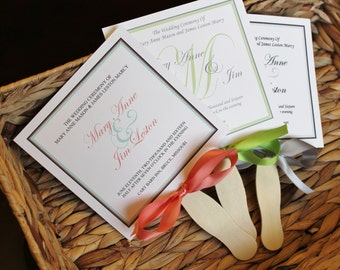 Classic Wedding Fan Programs - classic program, classic wedding, wedding fan program, fans for wedding, green program,  inexpensive fans