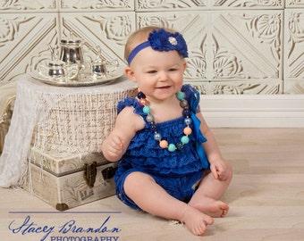 Royal Blue Shabby Chic Flower Headband/ Shabby Chic Headband/ Baby Headband, Baby Headbands/Infant Headband/Headband/Baby Girl Headband