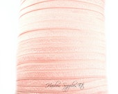 Light Pink Fold Over Elastic -Choose 1, 5 or 10 yards 5/8 inch FOE - Shiny for Headbands Hair Ties Hairbow Supplies, Etc.