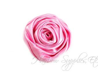 Bubblegum Pink Mini Sophia Multilayer Rolled Satin Flower - 1-1/2 inch- Bubblegum Pink Hair Flowers, Pink Satin Flowers, Pink Fabric Flowers