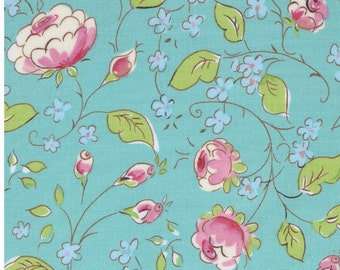 Dena Designs - Chinois Rose in Aqua - Chinoiserie Chic - cotton quilting fabric - choose your cut