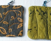 charcoal gray and gold hot pads hand dyed and printed with striped back