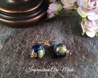 Bead Earrings, Blue Earrings, Tensha Bead Earrings, Flower Earrings, Beadwork Earrings, Dark Blue Earrings, Glass Earrings,  Earrings