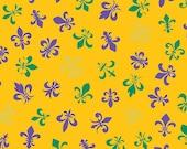 Fleur de Lis Purple, Green, and Gold Metallic by Andover