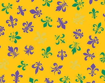 Fleur de Lis Purple, Green, and Gold Metallic by Andover