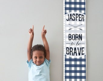 "Custom/ Personalized Navy Plaid ""Born to be Brave"" canvas growth chart"