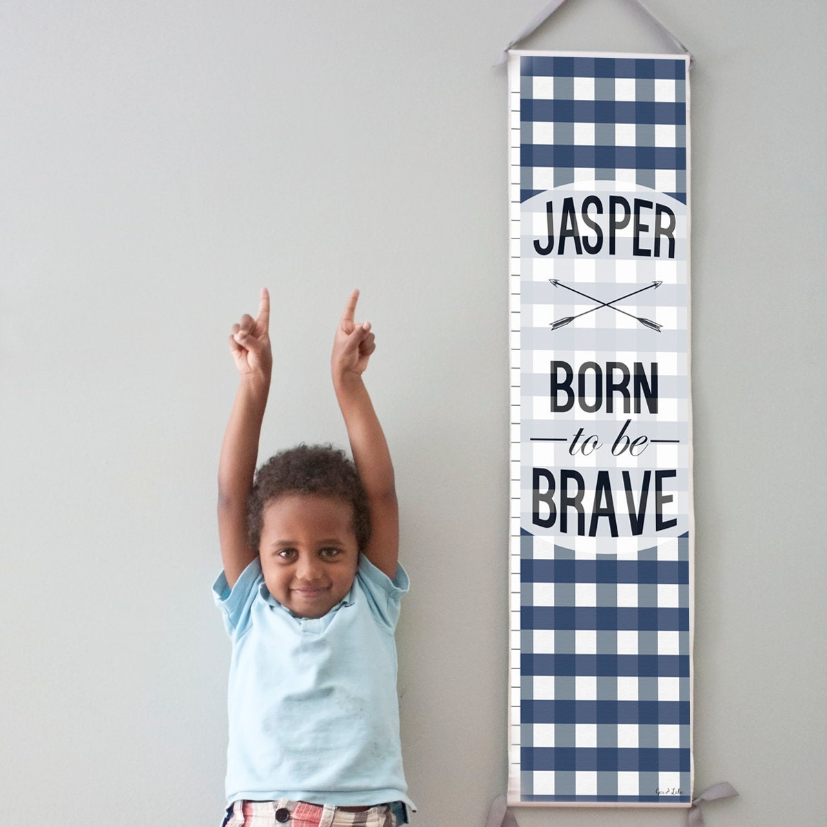 """Custom/ Personalized Navy Plaid """"Born to be Brave"""" canvas growth chart"""