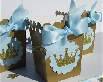 Royal Prince, Baby Shower, Popcorn Box Favors, Baby Blue & Gold, Glitter Crown, Dessert Table, Boy First Birthday Party Supply, Set Of 12