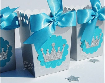 Princess Party Favors, Popcorn Box, Silver & Turquoise, Glitter Tiara Crown, Girls First Birthday, Baby Shower, Dessert Bar Decor, Set Of 12
