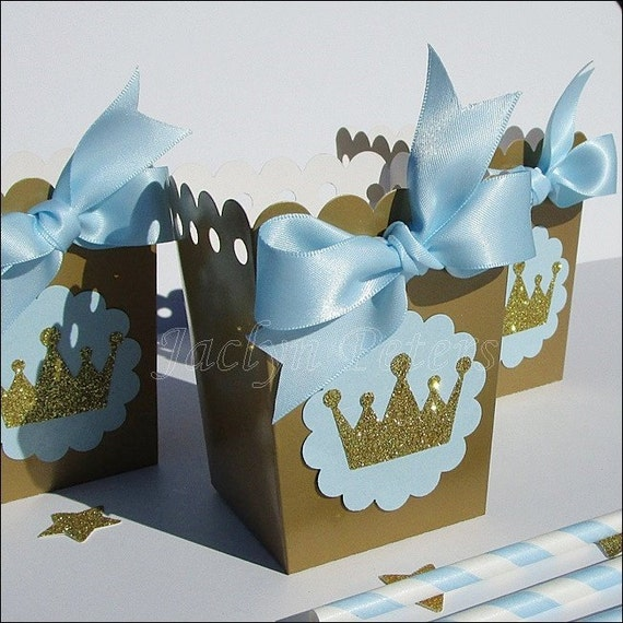 Prince Baby Shower Favors: Royal Prince Baby Shower Popcorn Box Favors Baby Blue