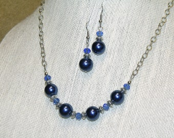 Navy Blue Pearls and Crystals with Silver Chain and Beads Necklace and Earrings Jewelry Set