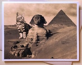 Cat Card, Egypt, Cat Art, Ancient Egypt, Sphinx cat, funny cards, history, pyramids, funny cats, cats, alternate histories, geekery