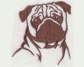 Pug Tea Towel | Embroidered Towel | Personalized Kitchen Towel | Embroidered Kitchen Towel | Hand Towel | Embroidered Tea Towel