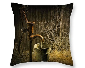 Old Water Pump with Metal Bucket by an Old Weathered Wooden Barn in Rural West Michigan No.251 novelty throw pillow Home Décor cushion cover