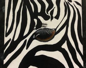 Hand painted Ceramic Zebra Brown Eye Tile OOAK Safari Zoo Home Room Office Decor