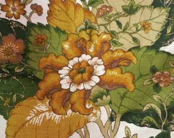 Vintage 70's Printed Linen Upholstery Fabric 2+ yards