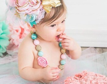 Mommys little piggy by cozette couture cake smash photo prop flower headband baby headband birthday headband