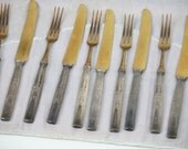 Aesthetic Period Fish Set Knives Forks Two Tone Gold Silver 12 Total 3 Prong Fork Art Nouveau Antique Wedding Gift Anniversary