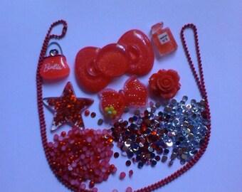 Kawaii decoden deco diy cabochon charm kit Red  45---USA SELLER