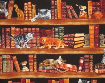 Clever Cats in the Library Print Pure Cotton Fabric--By the Yard