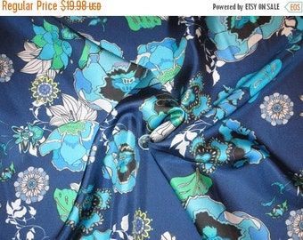 ON SALE Shades of Blue with Green Floral Print Pure Silk Surah Fabric--By the Yard