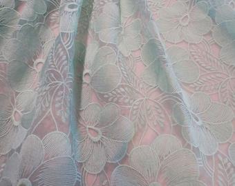 Elegant Dusty Aqua Floral Design Embroidered Organza Fabric--By the Yard
